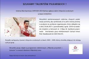 GKS Cartusia Kartuzy prowadzi nabór do zespołu roczników 2010/2011. Wkrótce spotkanie organizacyjne