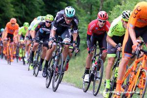 Paweł Poljański na podium Vuelta a Espana 2017. Na szóstym etapie finiszował tuż za Tomaszem Marczyńskim