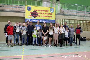 Mistrzostwa Kartuz w Tenisie Stołowym 2017. Socha, Mitak, Mras i Cylke ze złotymi medalami