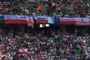 Kibice i flaga z Żukowa na trybunach meczu Polska - Irlandia Północna w Nicei.