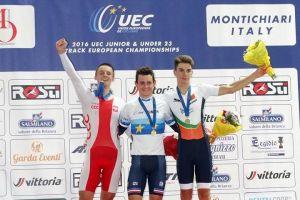 Szymon Sajnok wicemistrzem Europy. Kolarz Cartusii zdobył srebro w omnium na torowych mistrzostwach U23 we Włoszech