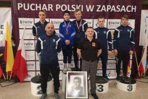 Gor Hovsepyan i Andrzej Drewa na podium I Pucharu Polski Kadetów w Zapasach w Warszawie