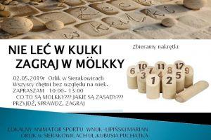 Zagraj w molkky, czyli dzień z kręglami fińskimi, w czwartek na orliku w Sierakowicach