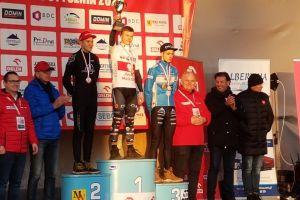 Kacper Hoppa na podium Mistrzostw Polski w Kolarstwie Przełajowym 2020